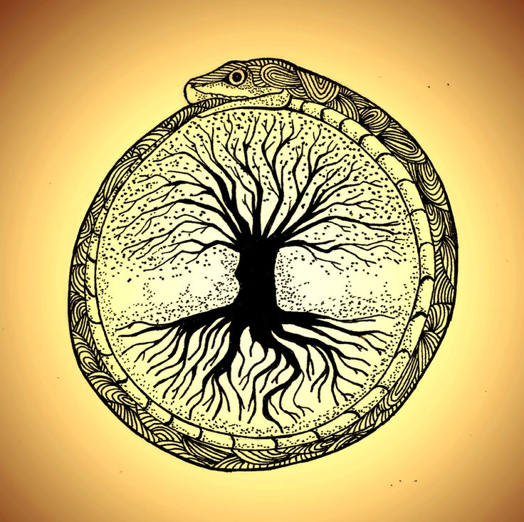 probando formas y símbolos para tattoo, Ouroboros e Yggdrasil