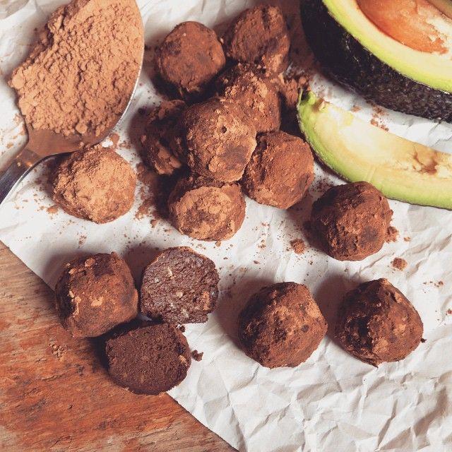 """Raw avocado chocolate truffles using @therawchocolatecompany chocolate and our…"