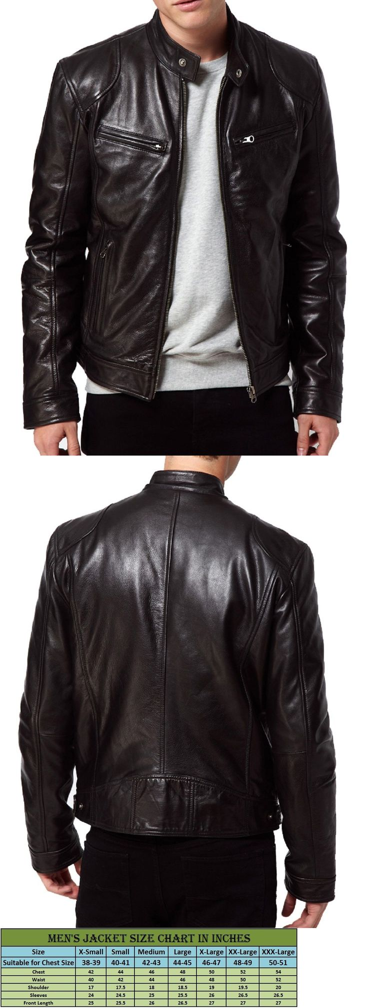 Men Coats And Jackets: New Mens Leather Jacket Slim Fit Biker Motorcycle  Genuine Lambskin Coat