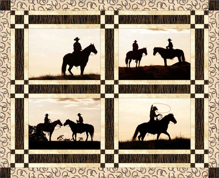 Cowboy Quilt. These cowboy silhouette quilt blocks come with a free quilt pattern.  This western quilt block set makes a great quilt.