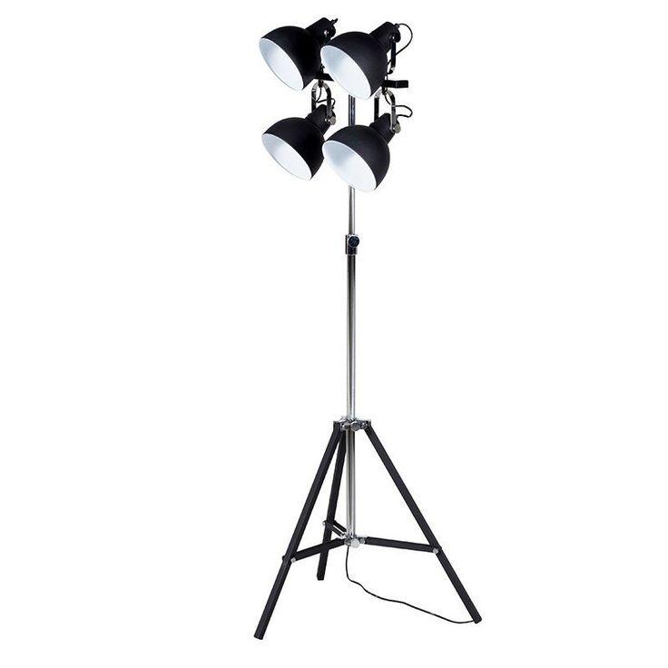 Black/Chrome 4 Spot Tripod Lamp