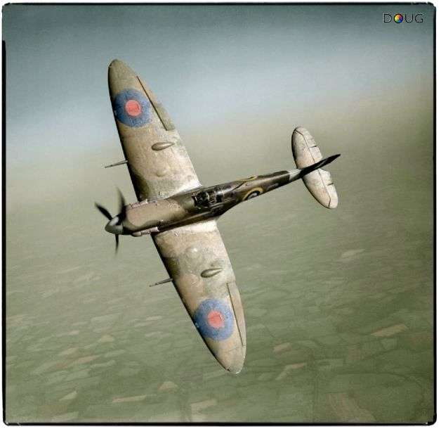 Supermarine Spitfire Mk VB (R6923, QJ-S) of Nº92 (East India) Squadron RAF based at Biggin Hill, Kent, UK. Flown here by Fl.Off. Alan Wright on 19th May 1941. On the afternoon of the 21st June '41 it was flown by Sgt. G.W.Aston on a bomber escort run over France and shot down a Bf 109 before it too got hit and had to ditch in the sea. Sgt. Aston survived and returned for duty that same evening.