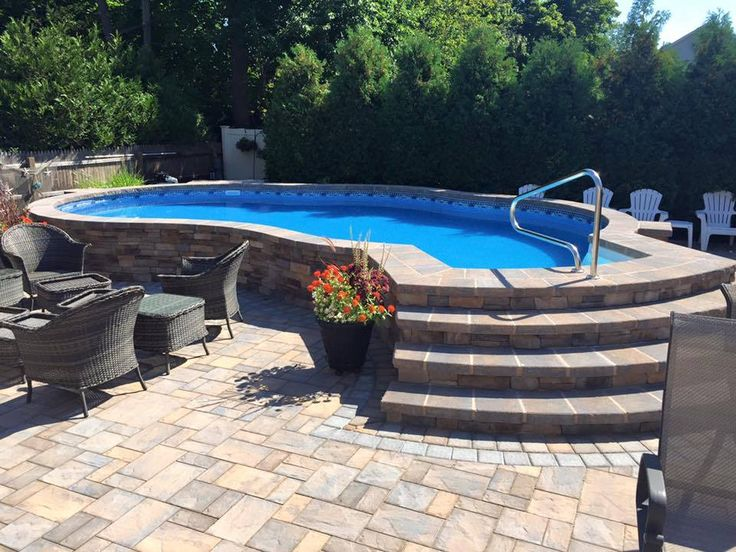 Inground Pool Patio Designs screen covered in ground pool in florida backyard surrounded by grey brick patio Find This Pin And More On Radiant Pools