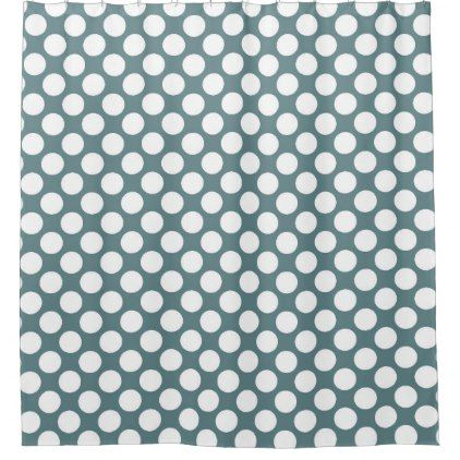 Blue Polka Dot Modern Retro Abstract Pattern Shower Curtain - retro gifts style cyo diy special idea