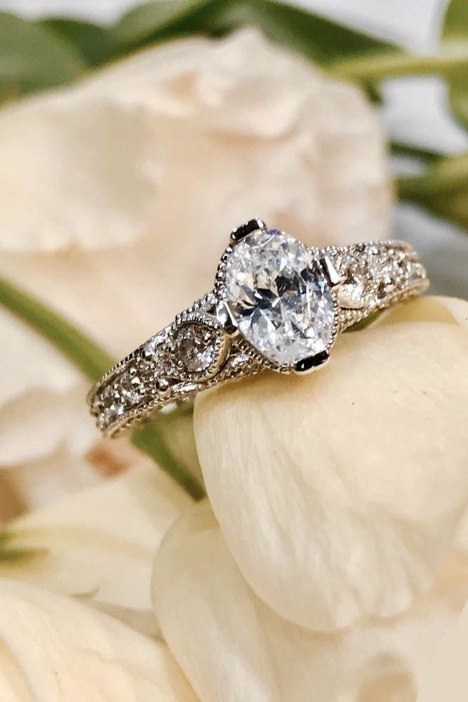 24 Vintage Engagement Rings With Stunning Details ❤️ vintage engagement rings white gold oval diamond ❤️ See more: http://www.weddingforward.com/vintage-engagement-rings/ #wedding #bride #engagementrings #vintageengagementrings #rosegondengagementrings