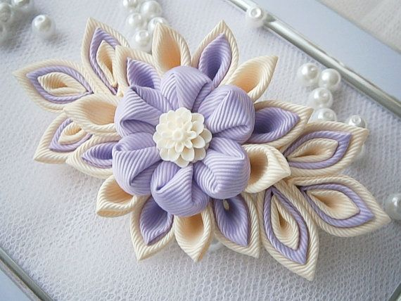 Handmade Kanzashi fabric flower grosgrain ribbon french barrette - ladies women hair accessories in UK,shipping worldwide on Etsy, $14.16