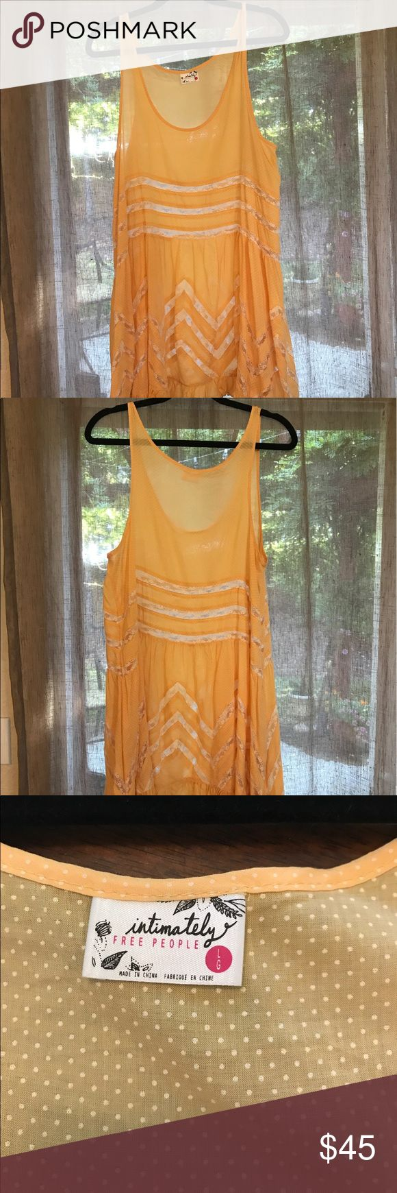 Free People Trapeze Dress Excellent Condition! Worn once! Size Large. Color is Mango with Cream colored Lace. Free People Dresses Midi