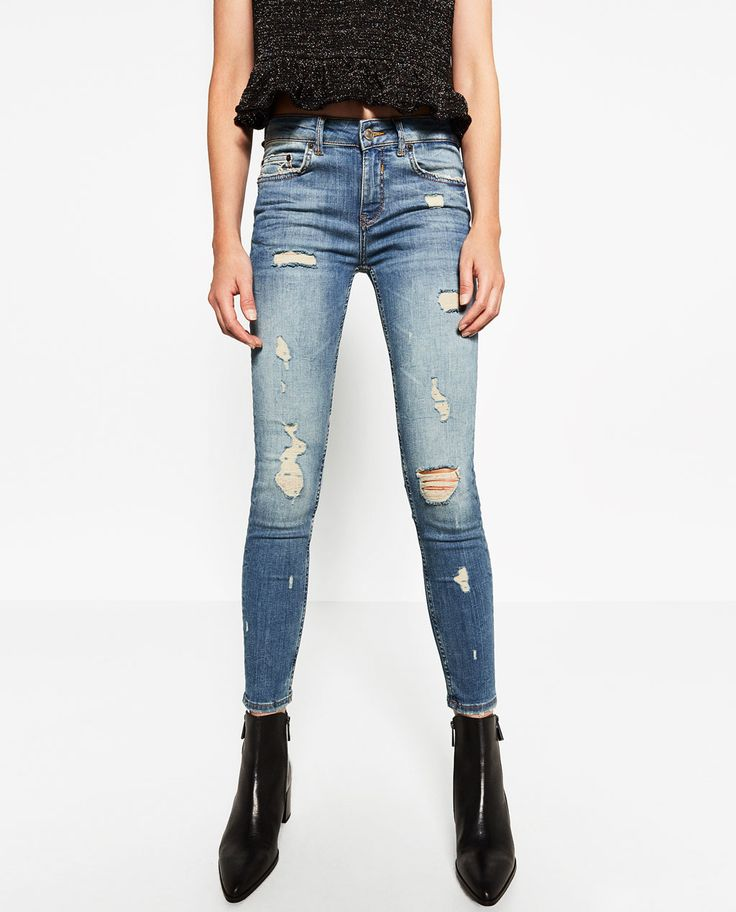 MID-RISE SKINNY JEANS-Damaged-JEANS-WOMAN | ZARA United States