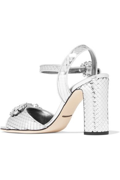 Dolce & Gabbana - Bianca Crystal-embellished Metallic Leather Sandals - Silver - IT36