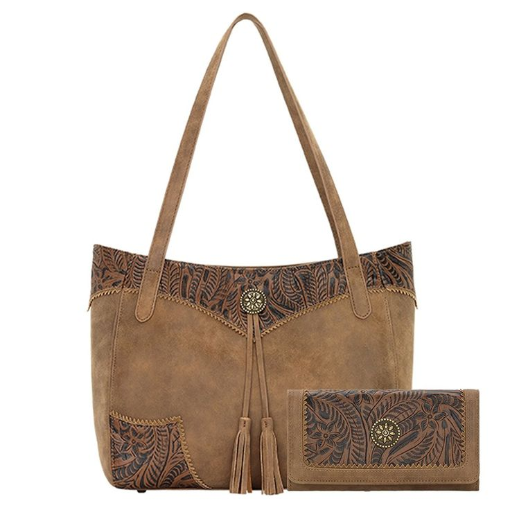Concealed Carry Floral Embossed Tote with Matching Wallet by Bandana -- Click on the image for additional details. (This is an Amazon Affiliate link)