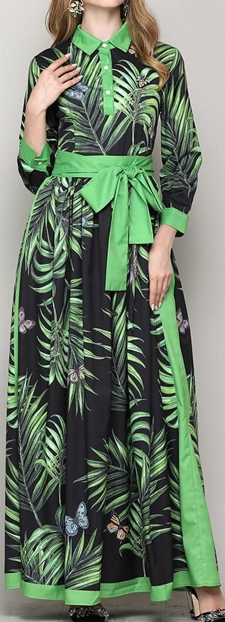 Leaf & Butterfly Print Maxi Shirt-Dress, Black