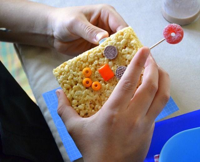 robot Valentine Playdate party rice krispie robot