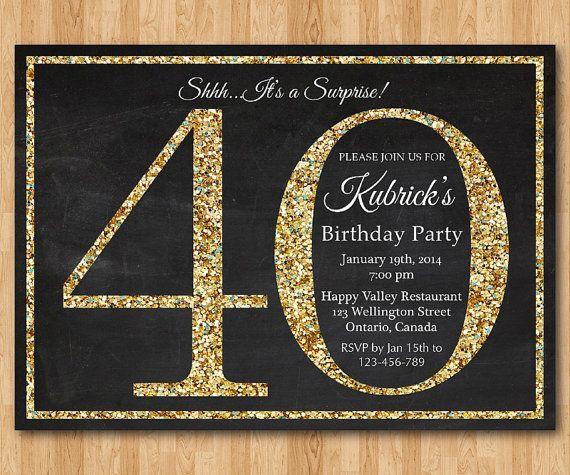 40th birthday invitation. Gold Glitter Birthday Party by arthomer