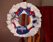 Texas Rangers Baseball Diaper Wreath