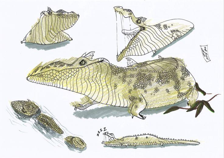 Crocodile character  /drawing reptile /
