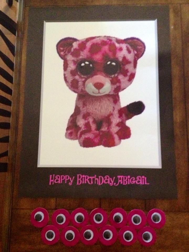 Beanie Boo Birthday Pin the Eye on Glamour (poster printed at Staples and pink sparkle sticky back foam from craft store cut into circles with wiggle eyes glued on)