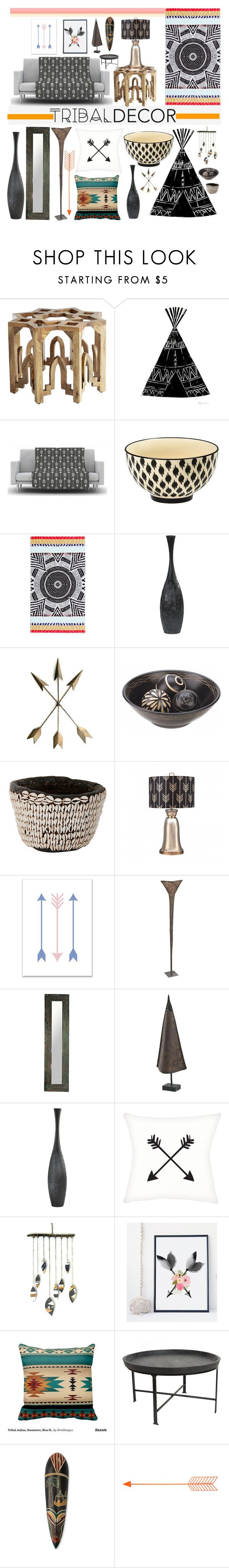 """Tribal Decor"" by piedraandjesus ❤ liked on Polyvore featuring interior, interiors, interior design, home, home decor, interior decorating, Pier 1 Imports, Kess InHouse, Mara Hoffman and Cyan Design"