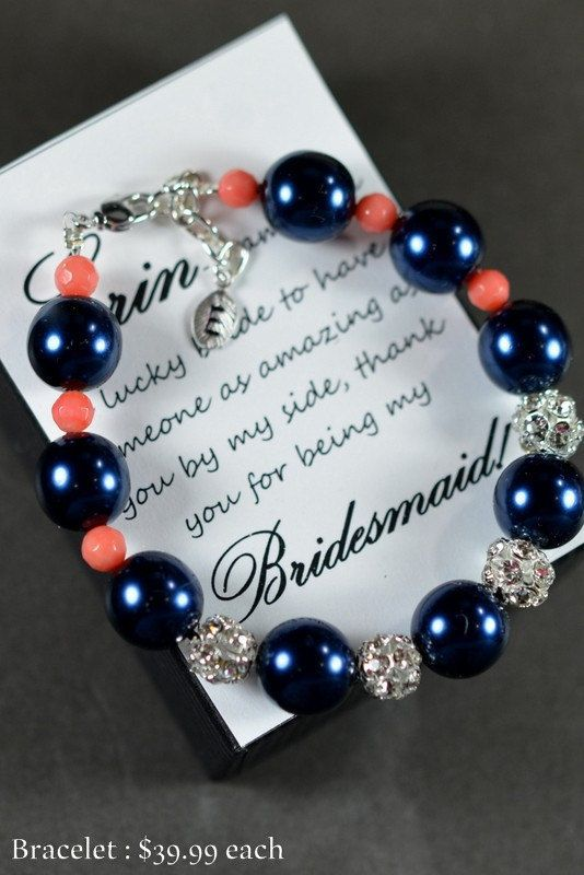 navy blue coral -Wedding Jewelry Bridesmaid Gift Bridesmaid Jewelry Bridal Jewelry blue pink Pearl Drop Earrings Cubic Zirconia Bracelet