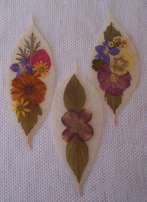 Pressed flowers on leaf skeletons book marks set by VestedInterest, $10.00
