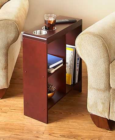 Add convenience and storage space beside your comfy chair with this Slim End Table with Drink Holders. Two jumbo cup holders are built i