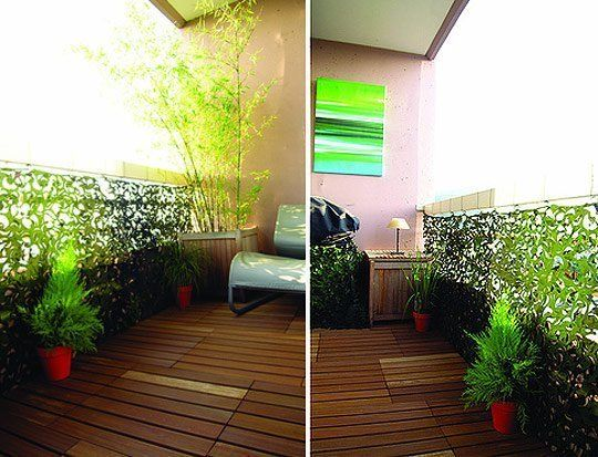 Clever Ways to Beautify Your Apartment Balcony. Camouflage – Hang camouflage across your balcony to add extra green and increase privacy for a temporary way to decorate your outdoor space!
