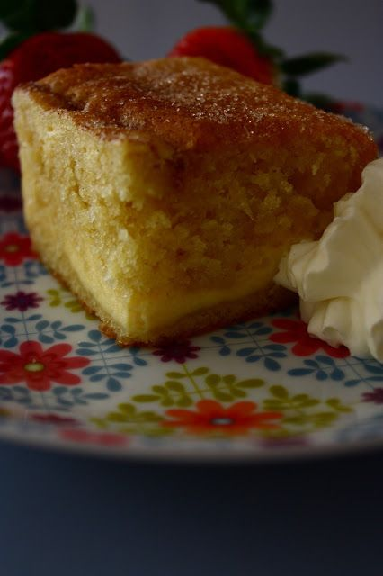 Ricotta Cake with a fluffy vanilla cake and a layer of fresh ricotta throughout.