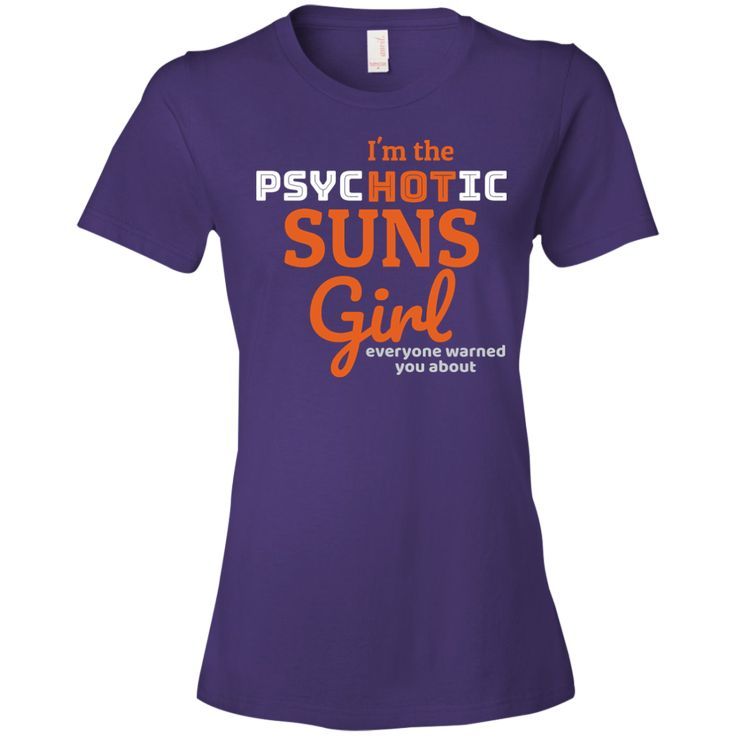 The Ladies Psychotic Suns T-Shirt is a direct to garment print, pre-shrunk 100% combed ringspun cotton in purple. Available in 5 sizes. Free shipping. Excellent quality. Visit SportsFansPlus.com for Details.