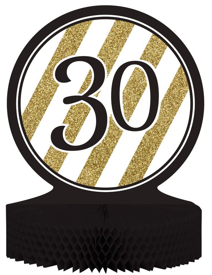 Centro de mesa 30 años negro y dorado: Este centro de mesa es de cartón con papel alveolado.La viñeta de cartón mide 23 cm de diámetro y la base de papel negro mide 30 cm de diámetro.La viñeta es...