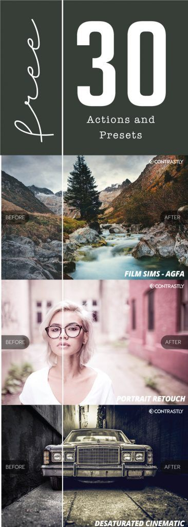 30 FREE Lightroom Presets & Photoshop Actions from Contrastly!