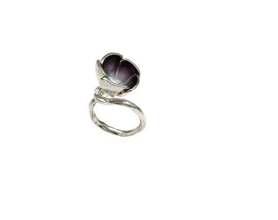 Purple #Flower, Sterling Silver #Ring, Enamel Ring,Poppy Ring, #Botanical Jewelry, Nature Inspired, Unique Handmade ring, Floral Jewelry