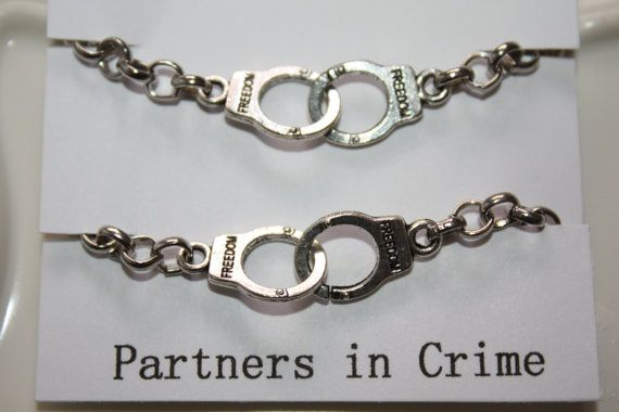 Partners in Crime Handcuff Bracelet by PenelopesPorch on Etsy