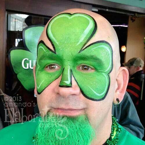 Clover face paint for St. Patricks Day