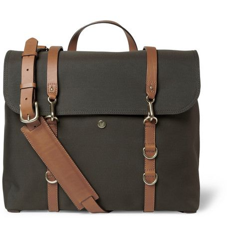Mismo Leather-Trimmed Canvas Messenger Bag | MR PORTER