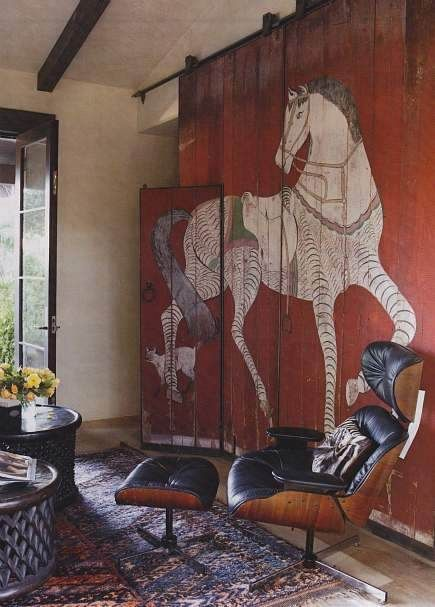 Beautiful horse and cat painting on wooden panels