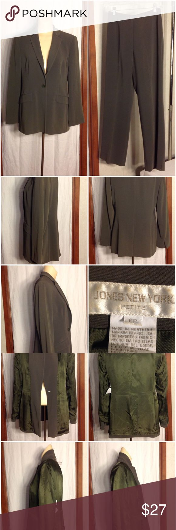 """Women's Green Jones New York Petite Pant Suit Jacket Description  Very nice 1 button up, 2 sealed pockets, slits at cuffs with no buttons, shoulder pads, rear center vent, lined a few small stains one left side near shoulder and others on left side of collar.   Armpit to Armpit = 18.50"""" Shoulder to Shoulder = 15.50"""" Sleeve = 23.25"""" Length = 27.75""""  Pants Description  very nice lined pants with front zip up combined with a hook and button attachment.  Waist = 13.25"""" Hips = 16.50"""" Leg Opening…"""
