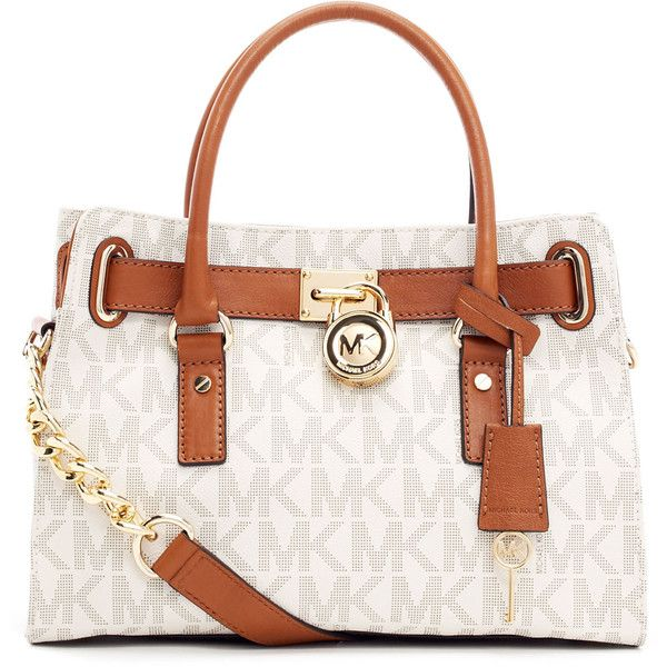 MICHAEL Michael Kors Hamilton Logo Satchel Bag ($278) ❤ liked on Polyvore