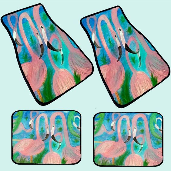 Flamingo party tropical car floor mats from my art, 20 oz loop with black bordered binding and non-skid backing Front size 17 x 27 - Rear size 17 x 13