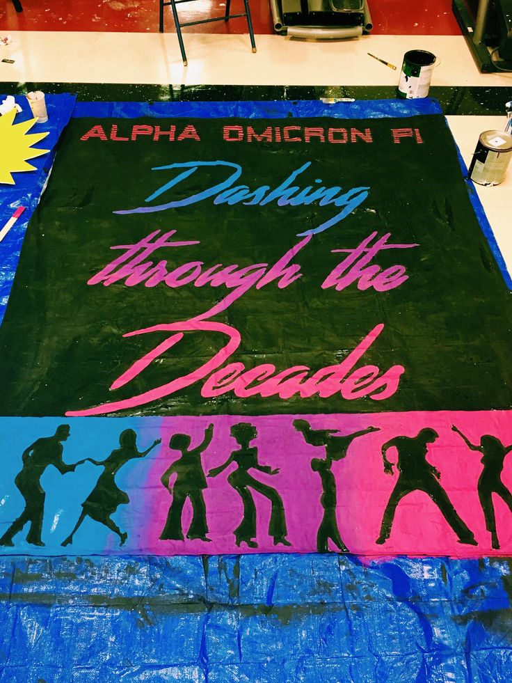 university of arkansas - alpha omicron pi (aoii) - sorority banner - dashing through the decades - decades banner - date dash banner - 60s 70s 80s 90s banner - function