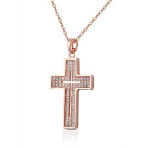 """I love the subtle faith statement in this rose gold cross """"within a cross"""" necklace or """"shadow cross"""" - http://superurl1.com/7455a41854756e0"""