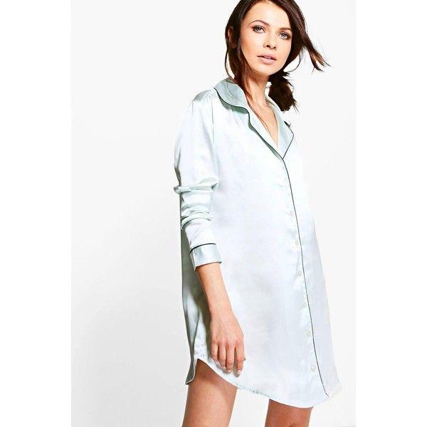 Boohoo Petite Petite Bailey Shirt Night Dress ($26) ❤ liked on Polyvore featuring intimates, sleepwear, nightgowns, grey, petite nightgown, petite sleepwear, petite pajama sets and petite loungewear