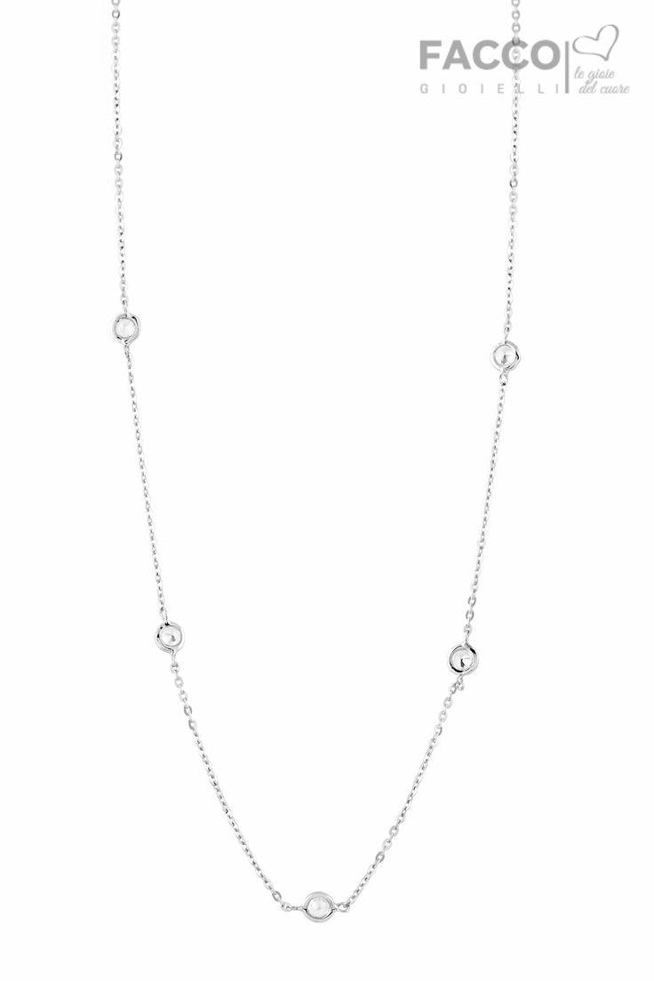 Collana donna, Facco Gioielli, in oro bianco 750‰, con zirconi punto luce.