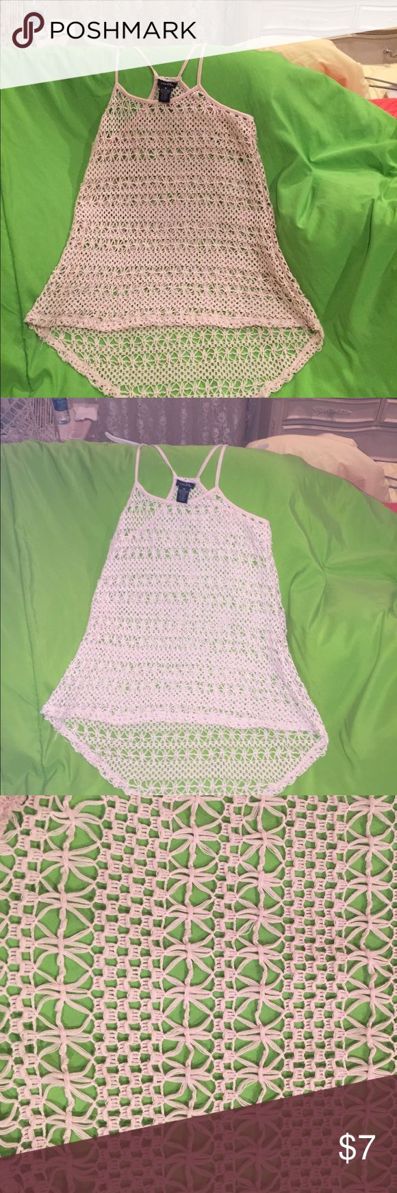 See through knitted tank top. Sz: Medium Size: Medium     Color: Off White / Beige             Brand: Rue 21              Details: Knitted                    Great for a bathing suit cover up!! Rue 21 Tops Tank Tops