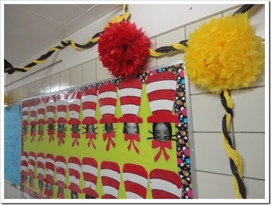 Dr. Seuss bulletin board with student pictures! www.schoolgirlstyle.com