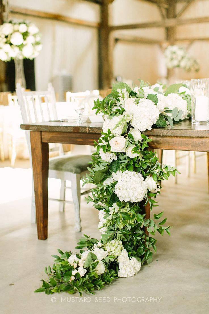 Floral Garland With Hydrangea, Greenery And Garden Roses. Made By Maxit  Flower Design And Photographed By Mustard Seed.