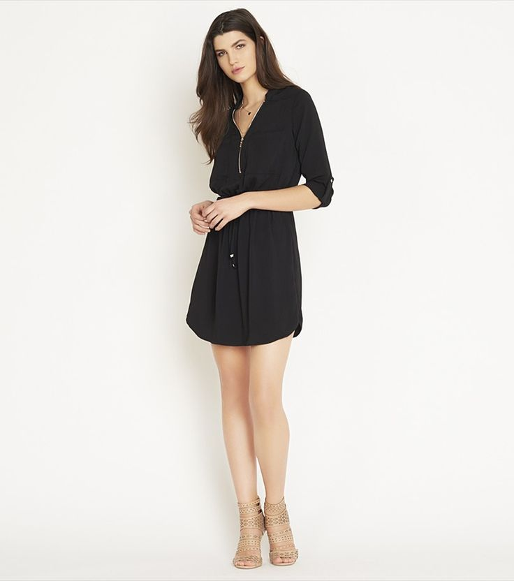 Shirt Dress with Zip JET BLACK