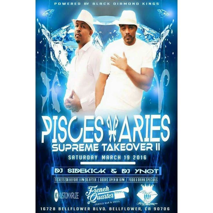 PLEASE SHARE All my Pisces Aries and Party People...come out and celebrate with us. Saturday March 19th 2016 @ The French Quarter Creole Bar and Grill. Birthday celebrations for BDK Heads King Charles and Black Exodus. Music By DJ Sidekick and DJ YNot. Raffle for a Free Luxury Car Rental (Maserati)  by Kustom Kruze. Drink Specials and Excellent Food Dishes. We will also have a cigar lounge for you connoisseurs.  The Ultimate Grown and Sexy Crowd. Tickets Tables Bottle Service here…