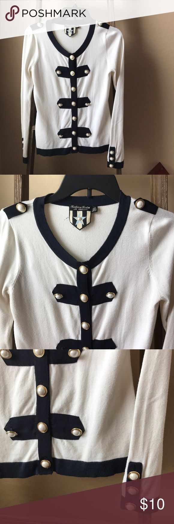 Nautical cardigan with pearl button details Nautical cardigan in white with navy trim, and the cutest pearl button details! Brand is Twelve by Twelve from Forever 21. Size Medium. Worn, loved, and taken care of! Forever 21 Sweaters Cardigans