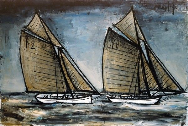 Bernard Buffet - Les yachts Hispania et Zinita à Cowes - 1995, oil on canvas - 130 x 195 cm