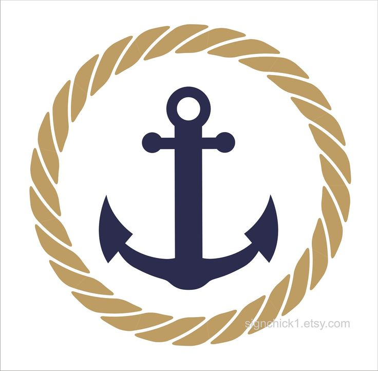 Rope Circle with Anchor wall decal nautical wall decor 12 x 12 inches. $18.00, via Etsy.