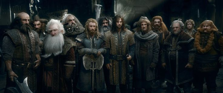 Jed Brophy, John Callen, Martin Freeman, Mark Hadlow, Peter Hambleton, William Kircher, Graham McTavish, Dean O'Gorman, Ken Stott, Stephen Hunter, and Aidan Turner in The Hobbit: The Battle of the Five Armies (2014)
